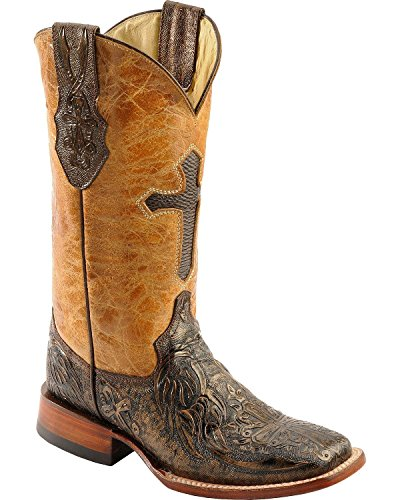 Ferrini Women's Embossed Cross Western Boot,Gold,7 B US