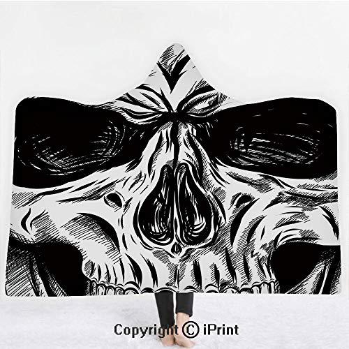 (Halloween 3D Print Soft Hooded Blanket Boys Girls Premium Throw Blanket,Gothic Dead Skull Face Close Up Sketch Evil Anatomy Skeleton Artsy Illustration Decorative,Lightweight Microfiber(Kids)