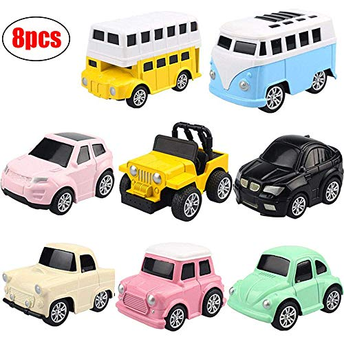 Pull Back Cars 8 Packs Mini Vehicles Alloy Toy Cars for Toddlers Kids