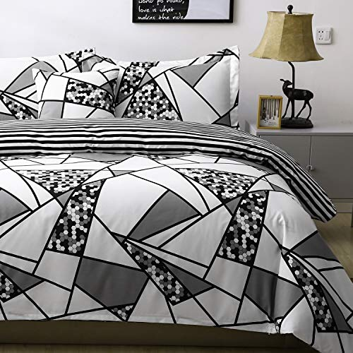 (Black and White Triangle Duvet Cover Set Twin Geometric Modern Pattern Printed Scandinavian Pattern 3 Pieces Diamond Bedding Stripes Duvet Cover Sets with Zipper Closure 4 Corner Ties Hypoallergenic)
