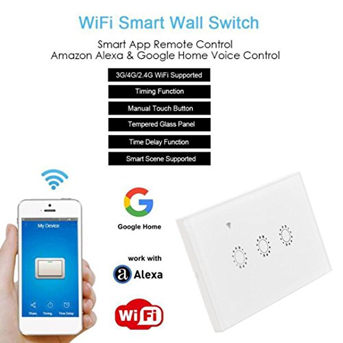 Switch Capacitive Hand Switch Wireless Remote Control Glass 3-gang Smart Home AU/US Crystal Waterproof Glass Touch Screen Light Switch&Mini Remote Wifi phone control (White) by Liu Nian (Image #2)