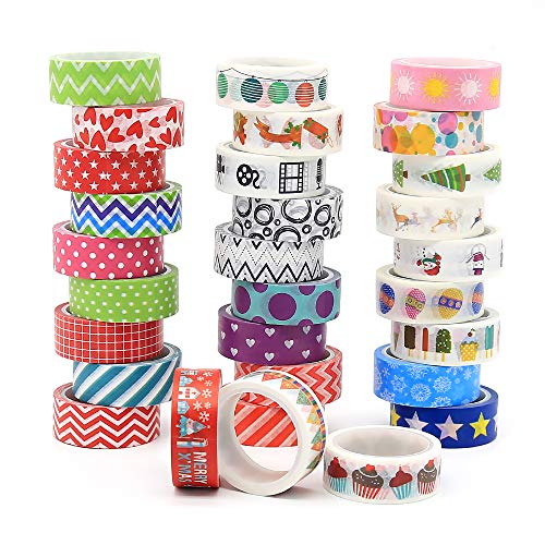 30 Rolls Washi Tape Set, 15mm Wide Decorative Washi Masking Tape Set for Children' DIY Crafts and Gift Wrapping, Sticky Adhesive Paper Masking Tape (30 Rolls)