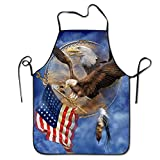 startoronto American Flag Eagle Aprons For Women/men Lightweight Grilling Short Cooking Funny Chef Apron