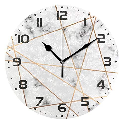 Clock Geometric - Naanle Elegant White Marble with Golden Geometric Line Round/Square/Diamond Acrylic Wall Clock Oil Painting Home Office School Decorative Creative Dual Use Clock Art