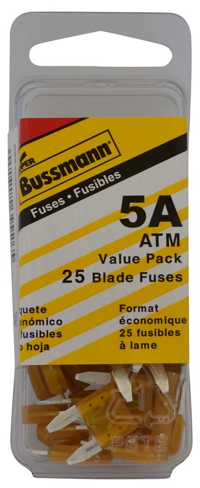 Bussmann VP//ATM-5-RP Tan 5 Amp Fast Acting ATM Mini Fuse, Pack of 25