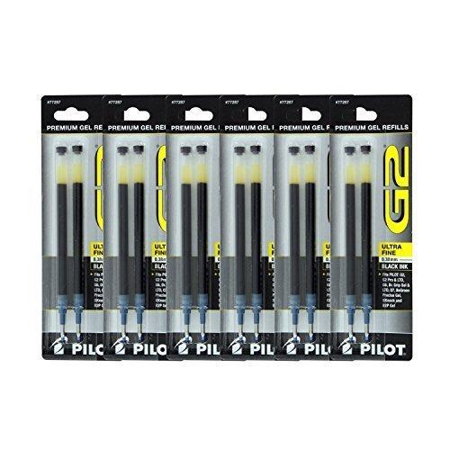 Dr Grip Gel Ink Roller - Pilot G2, Dr. Grip Gel/Ltd, ExecuGel G6, Q7 Rollerball Gel Ink Pen Refills, 0.38mm, Ultra Fine Point, Black Ink, Pack of 12