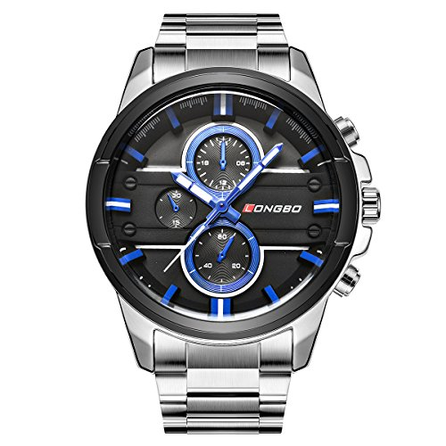 Sportivo Mens Stainless Steel Watch - LONGBO Men's Unique Big Face Analog Quartz Watch Silver Stainless Steel Band Business Wrist Watches Sportive Luminous Waterproof Decorative Chrono Eyes Blue Dial Army Military Watch for Man