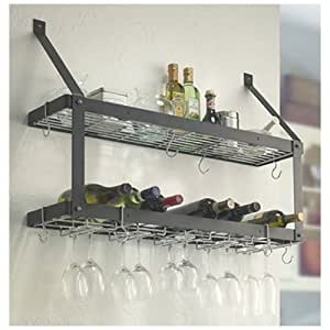 Estate Wine & Stemware Rack - Double Shelf - Black by Rogar International