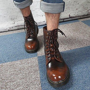 RTRY Zapatos De Mujer De Cuero De Moda Primavera Otoño Comfort Novedad Botas Botas De Tacón Bota Plana Ronda Toe Botines/Botines Lace-Up Para Office &Amp; US5 / EU35 / UK3 / CN34