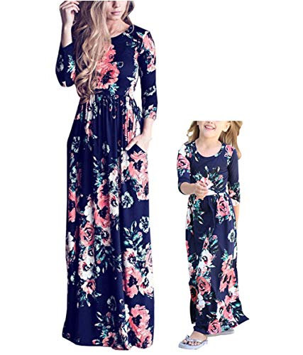 Qin.Orianna Mommy and Me Maxi Dresses,3 4 Sleeve Bohemia Floral Matching Outfits with Pocket (Mom 8, -
