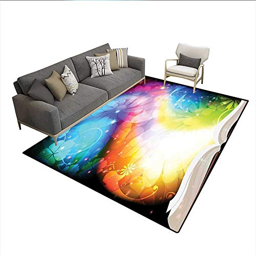 Carpet,Psychedelic Open Book of Fairy Tales on Gradient Rainbow Color Floral Background,Area Silky Smooth Rugs,Multicolor 6'x8'
