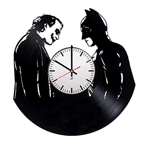 Batman Arkham Origins New 52 Costume (Modern Vinyl Record Wall Clock With Joker Batman Design - Unique Home or Garage Wall Decor - Original Gift Idea For His and Her - Exclusive Comics Fan Art)