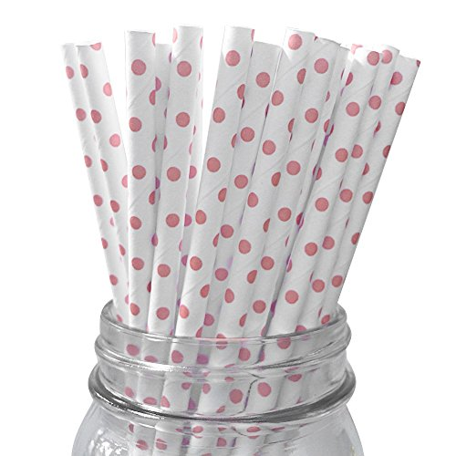 Baby Pink Dots Set of 100 Count Size 7 3/4 inch Baby (Brownie Lollipops)