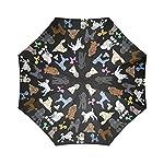 Artsadd Fashion Umbrella Poodle Umbrella Black Foldable Sun Rain Travel Umbrella 8