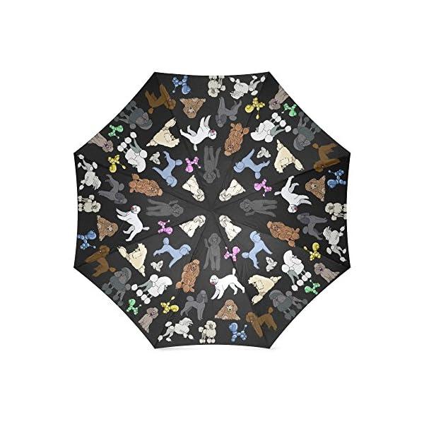 Artsadd Fashion Umbrella Poodle Umbrella Black Foldable Sun Rain Travel Umbrella 2
