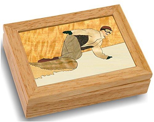 MarqART Snowboard Wood Art Trinket Jewelry Box & Gift - Handmade USA - Unmatched Quality - Unique, No Two are The Same - Original Work of Wood Art (#4121 The Snowboarder 4x5x1.5)