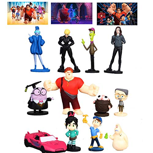 ToysOutletUSA Ralph Breaks The Internet Toys Figure Set of 12 + 1 Bonus Stickers Card- Ideal Cake Toppers Party Supplies