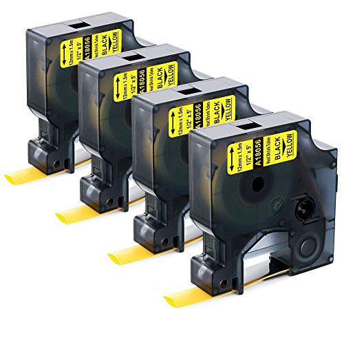 4 Pack Replace DYMO 18056 Yellow Heat Shrink Tube Labels, 1/2'' Black on Yellow Heat Shrink Tubing Compatible with DYMO Rhino 4200, 5200, 5000, 6000 Industrial Label Makers and - Tube Yellow