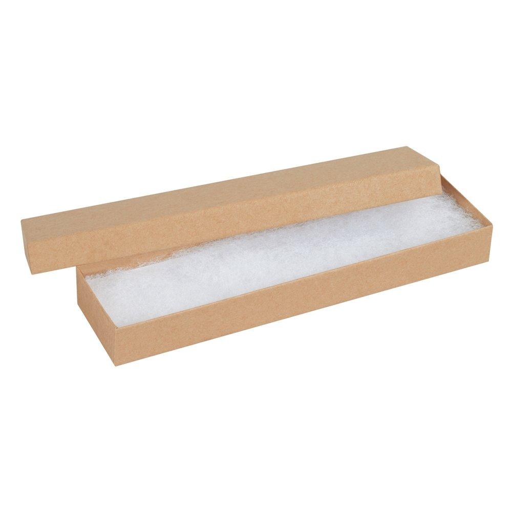 Aviditi JB821K Rigid Fibreboard Jewelry Box, 8'' Length x 2'' Width x 7/8'' Height, Kraft (Case of 100)