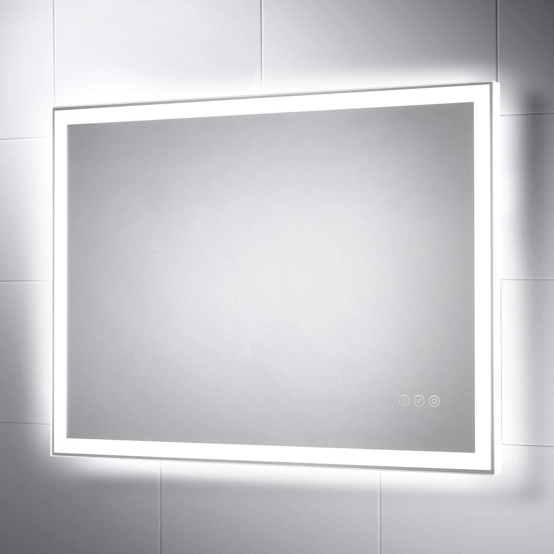 Pebble Grey 24 x 32 Wall Mounted LED Lighted Bathroom Vanity Mirror with 3 Way Touch Sensor Switch, LED Dimmer & Demister