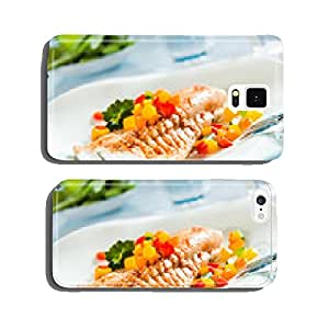 Grilled fish fillet with a colorful fresh salad cell phone cover case Samsung S5