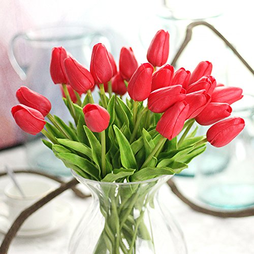 Coobl Artificial silk flower High grade decorative tulip flower wedding bouquet bride holding garlands vine DIY Floral art plant bride Home Decor(20pcs) (red) (Tulip Centerpiece)