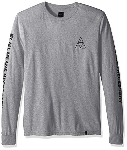 HUF Men's Essentials TT L/S TEE, Grey Heather, ()