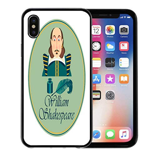 Emvency Phone Case for Apple iPhone Xs Case/iPhone X Case,White Shakespeare Portrait of William Shakepeare Inkwell and Feather Soft Rubber Border Decorative, Black -
