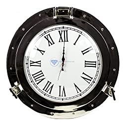 Nagina International Premium Silver Lined Aluminum Nickel Coated Nautical Ship's Porthole Window ! Maritime Wall Decor Mirror | Exclusive (17 Inches, Clock)