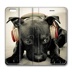 Lovely Dog Animal Custom Leather Cover for iPhone 6 Plus By Cases & Mousepads