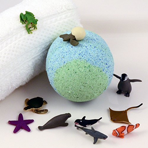 """KIDS Green & Blue Big Bath Bomb with Sea Creature Toy Inside - 'Pineapple' Scent in New Large Party Size 3"""" Diameter Ages 4+"""