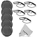 (10 Pcs Bundle) 5 Snap- On Lens Cap (72mm) and 5 Cap Keeper Leash for Canon, Nikon, Sony and any other 72mm Camera Lens