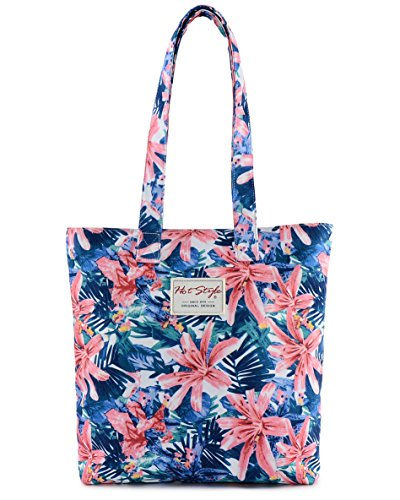 [HotStyle Fashion Printed] Floral Design Womens Shopper Tote Shoulder Bag, Pink (Floral Shopper)