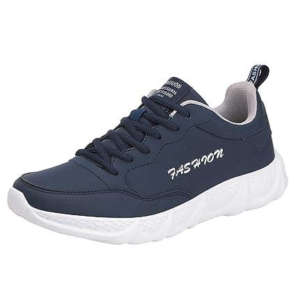 LuckyGirls Zapatos para Hombre Zapatillas de Correr Cuero Casual Calzado de Deporte Planos Transpirables Moda Bambas
