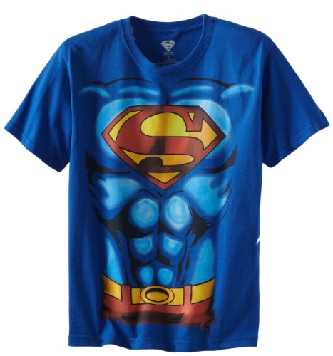 DC Comics Big Boys' Superman Costume T-Shirt L, Royal Blue,