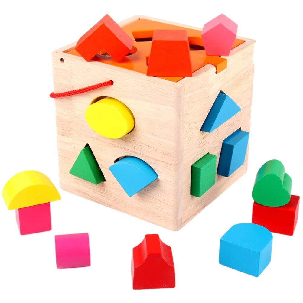 VORCOOL Hölzerne Intelligenz Box 16 Löcher Sorter Baby kognitive und passende Bausteine Spielzeug