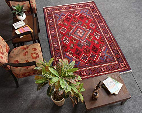 HeSamCrafts Hand Knotted Vintage Red and Blue Wool Area Rug (4'2