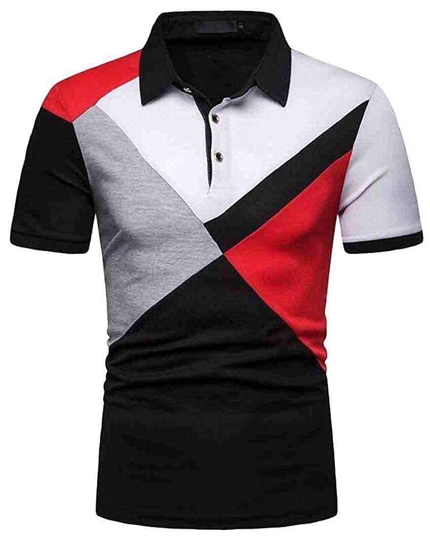 Generic Mens Color Block Polos Shirts Lightweight Casual Basic Sport Polo Shirt