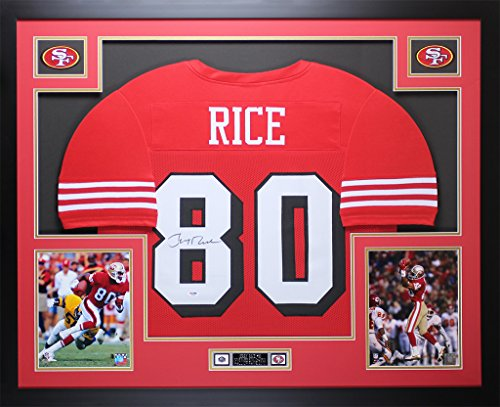 - Jerry Rice Autographed Red 49ers Jersey - Beautifully Matted and Framed - Hand Signed By Jerry Rice and Certified Authentic by Auto PSA COA - Includes Certificate of Authenticity