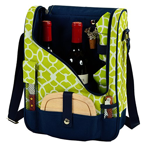 Picnic at Ascot Wine and Cheese Cooler Bag Equipped for 2 with Glasses, Napkins, Cutting Board, Corkscrew , etc.  - Trellis Green (Champagne Bottle Knife)