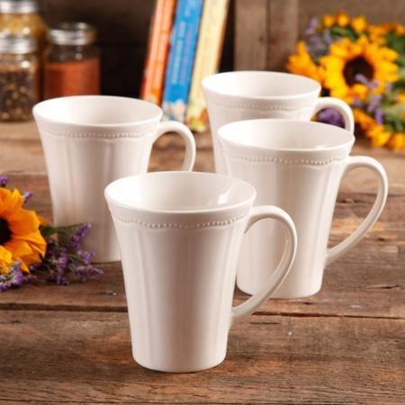 (The Pioneer Woman Paige Dishwasher Safe 4-Piece Transparent Glaze Durable Stoneware Mug Set, Linen)