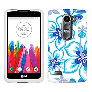 LG Tribute 2 Case, Snap On Cover by Trek Blue Hawaiin Flowers on White Case