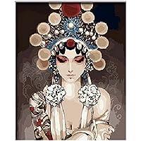 Diy oil painting, paint by number kits- Peking opera, 16 x 20 cm.