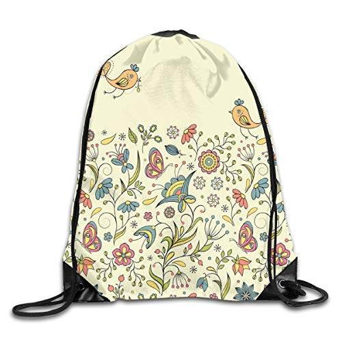 2019 Funny Drawstring Backpacks Bags Daypacks,Flourishing Spring Meadow Ornate Artistic Nature Romantic Birds Butterflies Leaves,Adjustable For Sport Gym Traveling