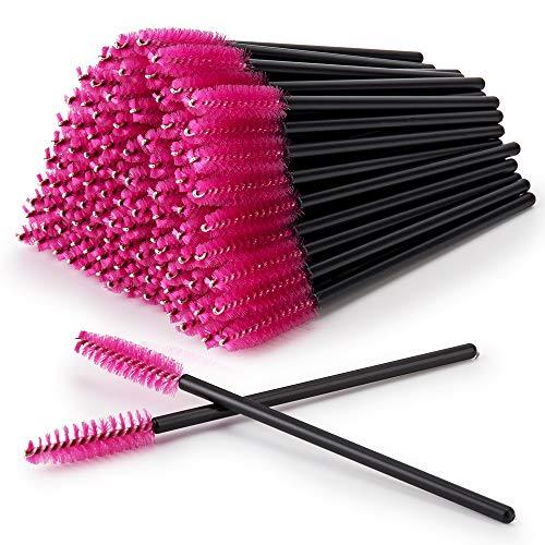 100 PCS Disposable Eyelash Brushes Tools, Hopttreely Premium Mascara Brushes Wands Eyebrow Applicator Makeup Kits (Black-Rose)