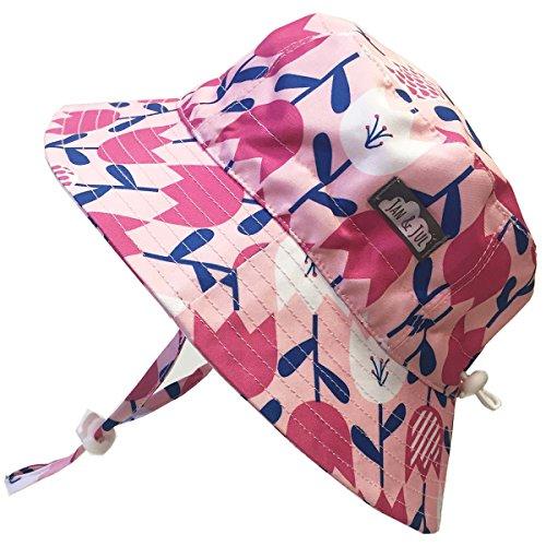 Kids 50+ UPF Bucket Sun Hat, Size Adjustable Aqua Dry ( XL: 3 - 12Y, Tulip ) by JAN & JUL