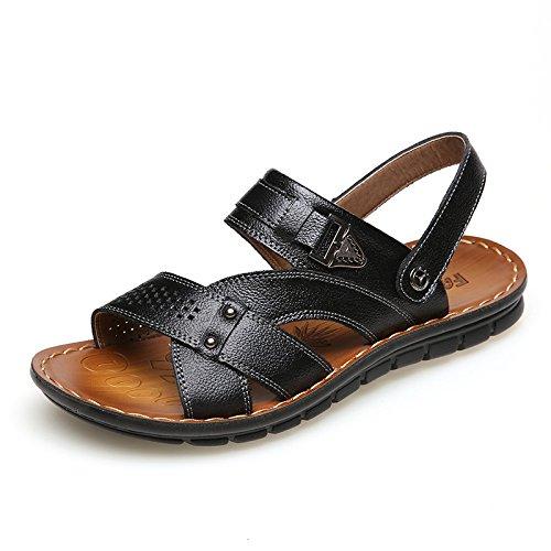 HGDR Men's Open Toe Sandals Leather Slip-On Sandals Summer Comfort Beach Shoes Sport Sandals Black cDR3U