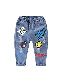 Evelin LEE Baby Boy Jeans Ripped Holes Denim Pants Smile Print