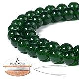 BEADNOVA 8mm Green Jade Gemstone Round Loose Beads for Jewelry Making (45-48pcs)