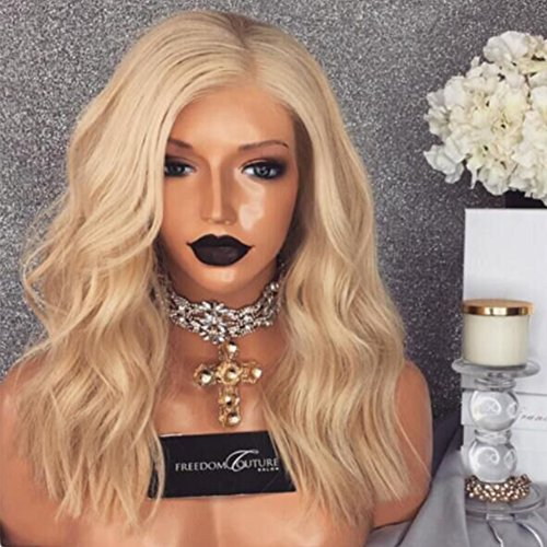 Brazilian Human Hair Full Lace Wigs Body Wave Wig For Black Women Blonde Color (Full Lace Wigs 130% Density, 14inch) by Dream Beauty